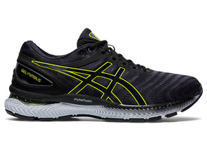 Men's Asics GEL-Nimbus 22 Running Shoe in Carrier Grey/Lime Zest from the side
