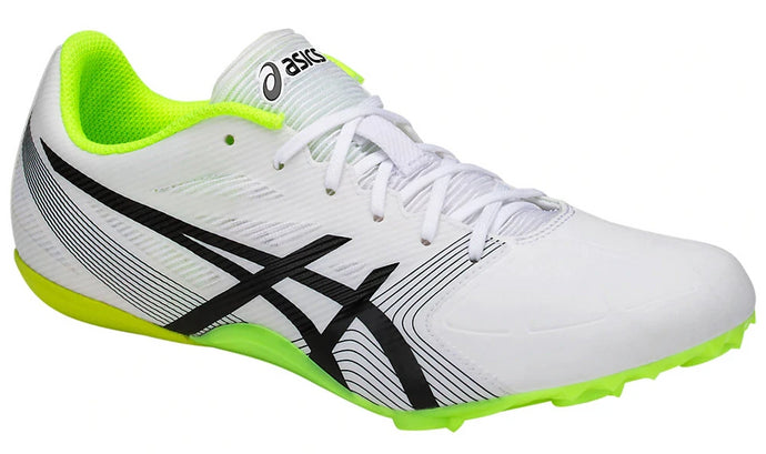 Men's Asics HyperSprint 6 Running Shoe in White/Black/Safety Yellow from the front