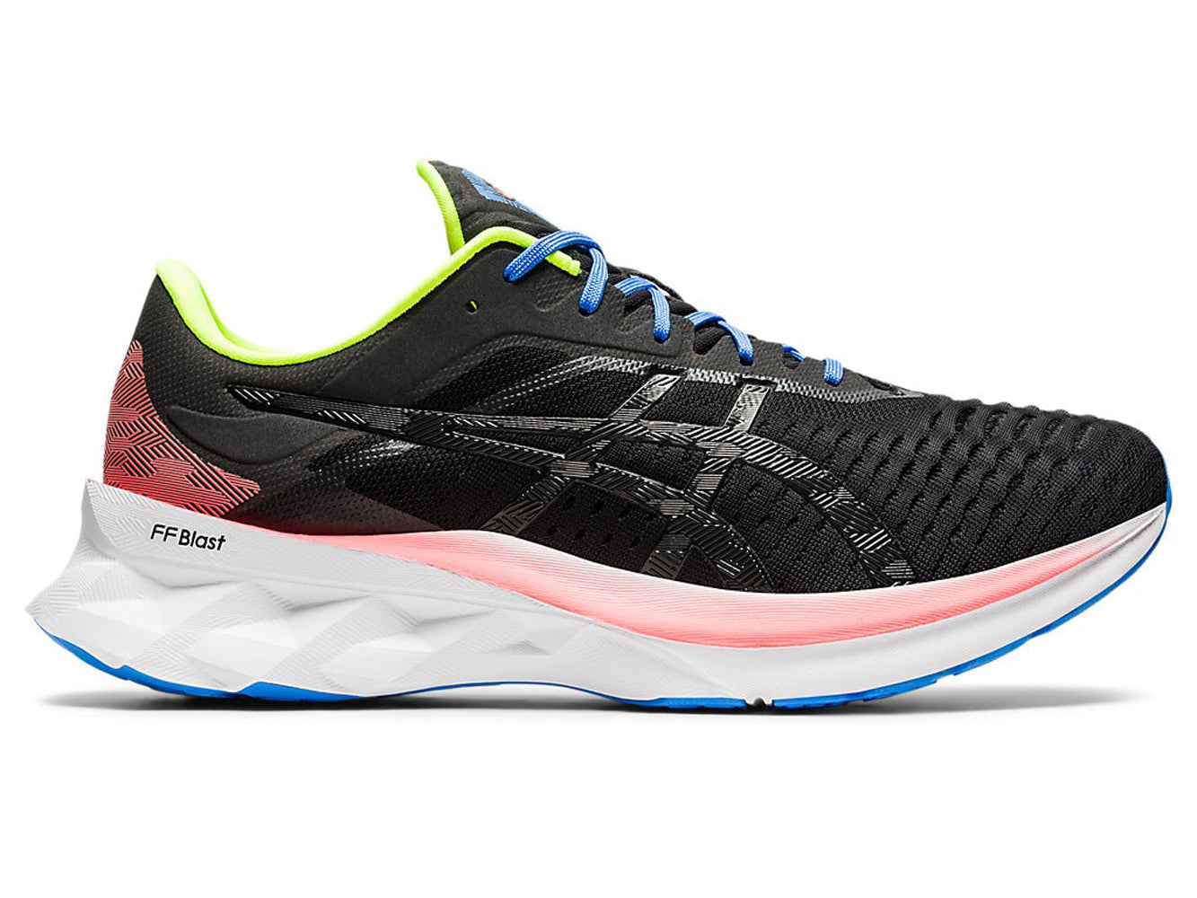 Men's Asics Novablast Running Shoe in Black/Black from the side