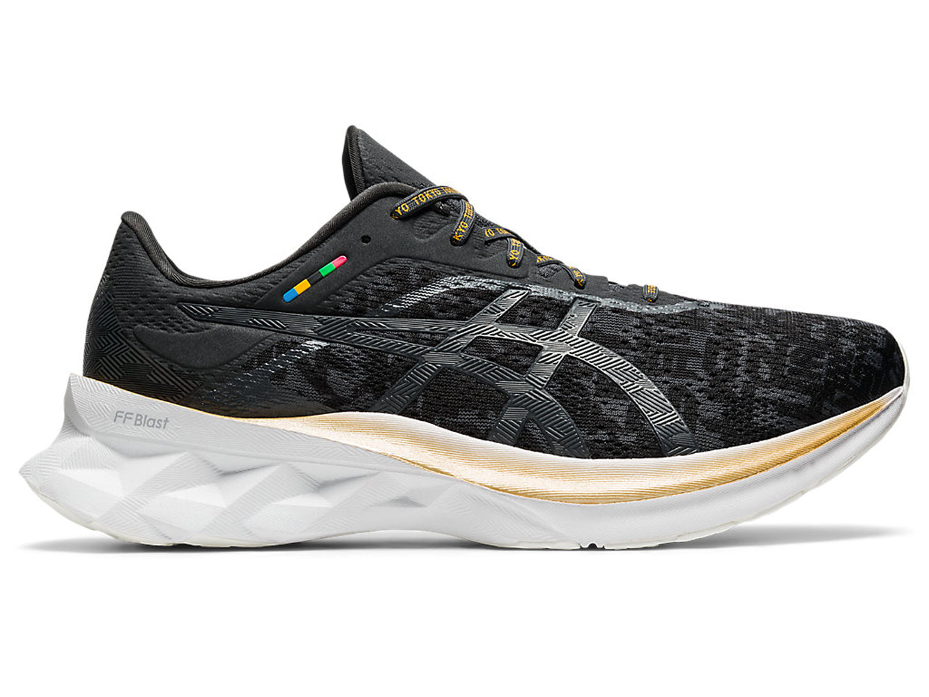 Men's Asics Novablast Running Shoe in Black/Graphite Grey from the side