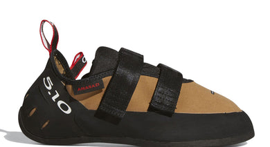Men's Five Ten Anasazi VCS Climbing Shoe in Raw Desert/Black/Red from the side