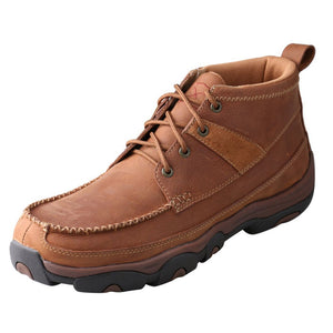 "Men's Twisted X 4"" Driving Moccasins Hiker Boot in Brown from the front"