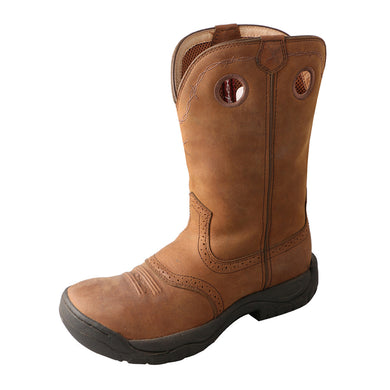 Men's Twisted X All Around Work Boot in Distressed Saddle from the front