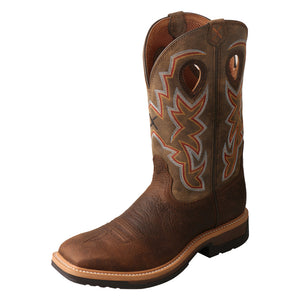 Men's Twisted X Alloy Toe Lite Western Work Boot in Taupe & Bomber from the front