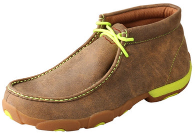 Men's Twisted X Chukka Driving Moccasins Shoe in Bomber & Neon Yellow from the front