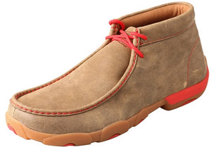 Men's Twisted X Chukka Driving Moccasins Shoe in Bomber & Red from the front