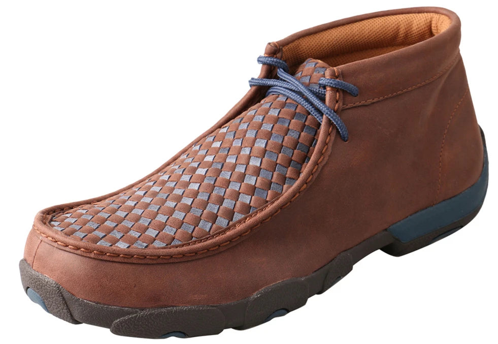 Men's Twisted X Chukka Driving Moccasins Shoe in Brown & Blue from the front