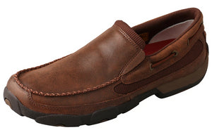Men's Twisted X Slip-On Driving Moccasins Shoe in Brown from the front