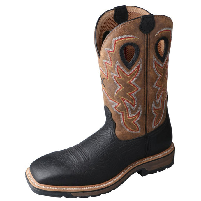 Men's Twisted X Steel Toe Lite Western Work Boot in Black Shoulder & Distressed from the front