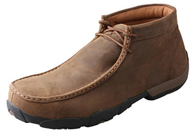 Men's Twisted X Waterproof Chukka Driving Moccasins Shoe in Distressed Saddle from the front