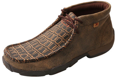 Men's Twisted X Work Alloy Toe Chukka Driving Moccasins Shoe in Caiman Print & Brown from the front