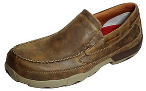 Men's Twisted X Work Composite Toe Slip-On Driving Moccasins Shoe in Bomber from the front