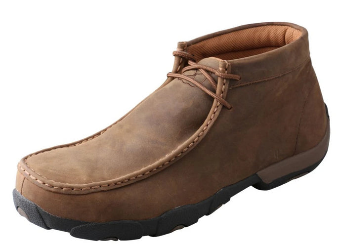 Men's Twisted X Work Steel Toe Chukka Driving Moccasins Shoe in Distressed Saddle from the front