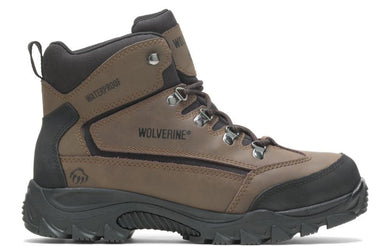Men's Wolverine Spencer Waterproof Mid-Cut Hiking Boot in Brown/Black from the front
