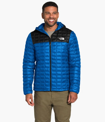 Men's The North Face ThermoBall Eco Hoodie Jacket in Flare/TNF Black from the front