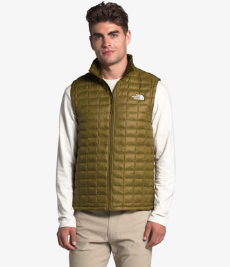Men's The North Face ThermoBall Eco Vest in Mallard Blue Vapor Ikat Print/TNF Black from the front