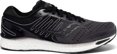 Saucony Men's Freedom 3 Running Shoe in Black White Side Angle View