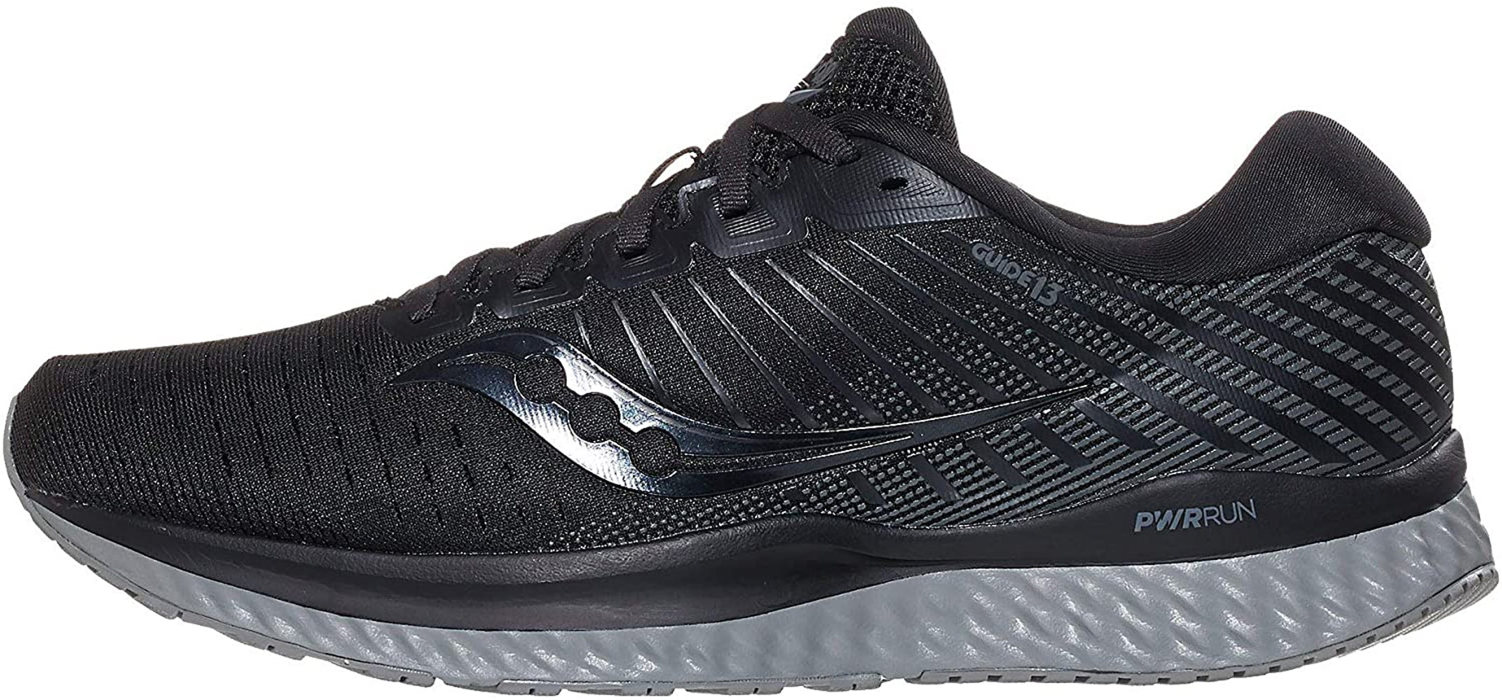Saucony Men's Guide 13 Running Shoe in Blackout Side Angle View