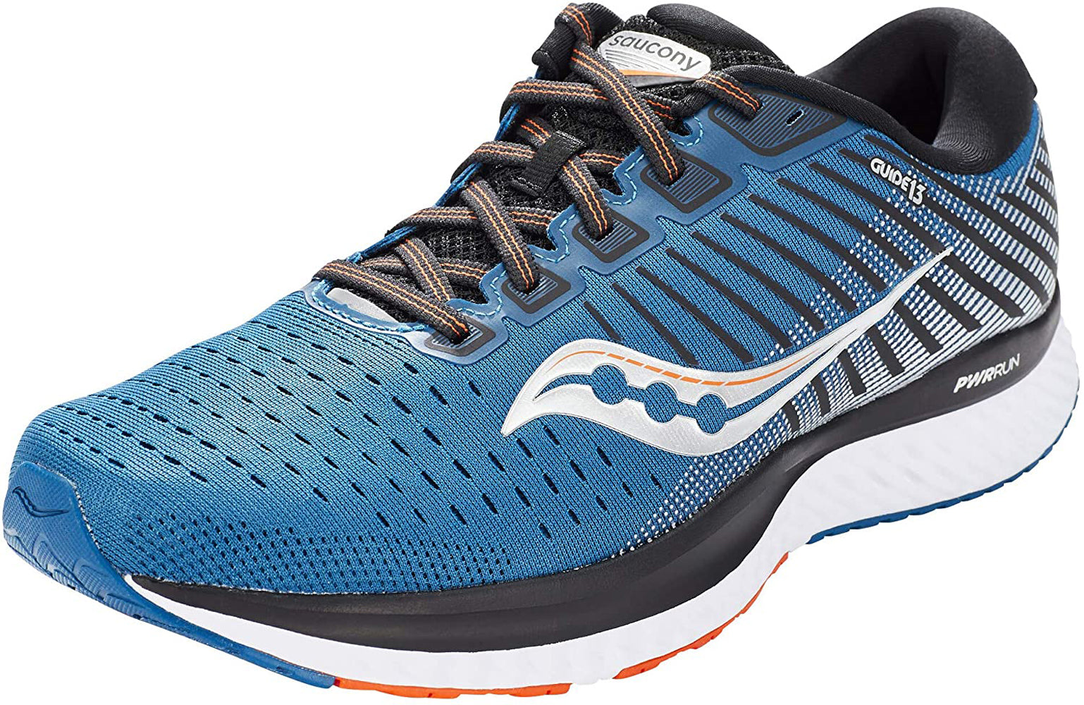 Saucony Men's Guide 13 Running Shoe in Blue Silver Side Angle View