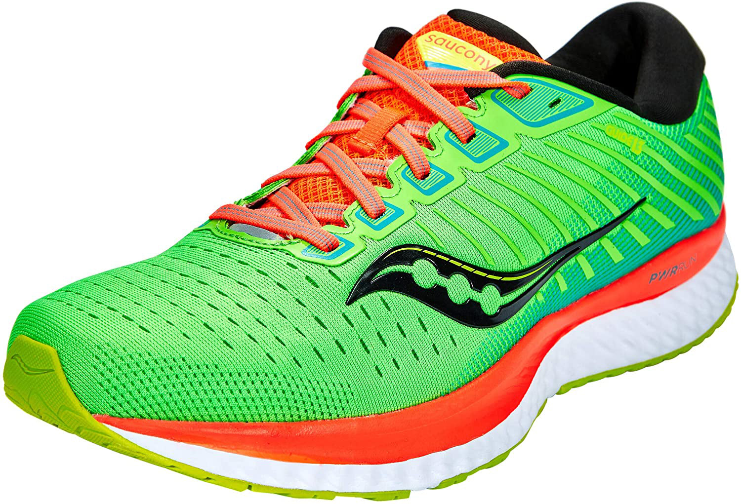 Saucony Men's Guide 13 Running Shoe in Green Mutant Side Angle View