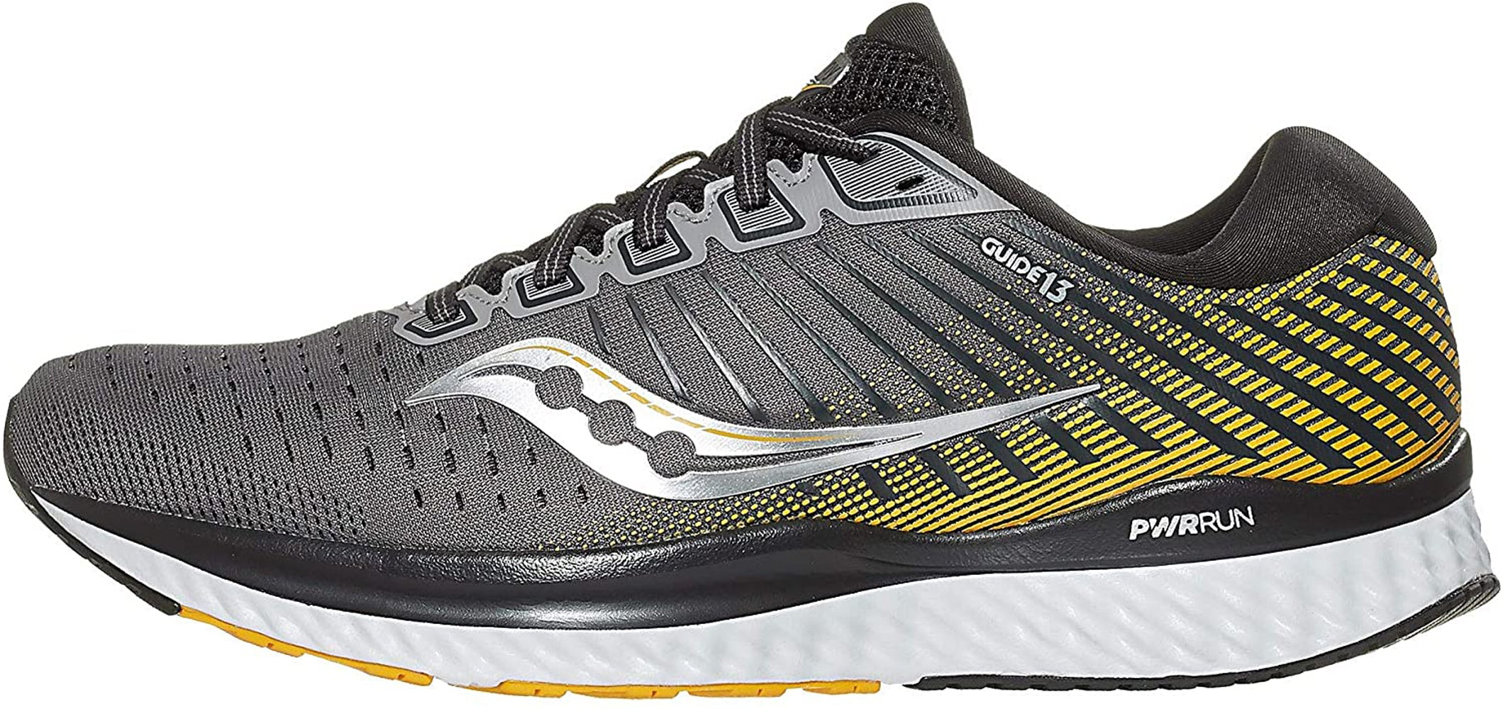 Saucony Men's Guide 13 Running Shoe in Grey Yellow Side Angle View