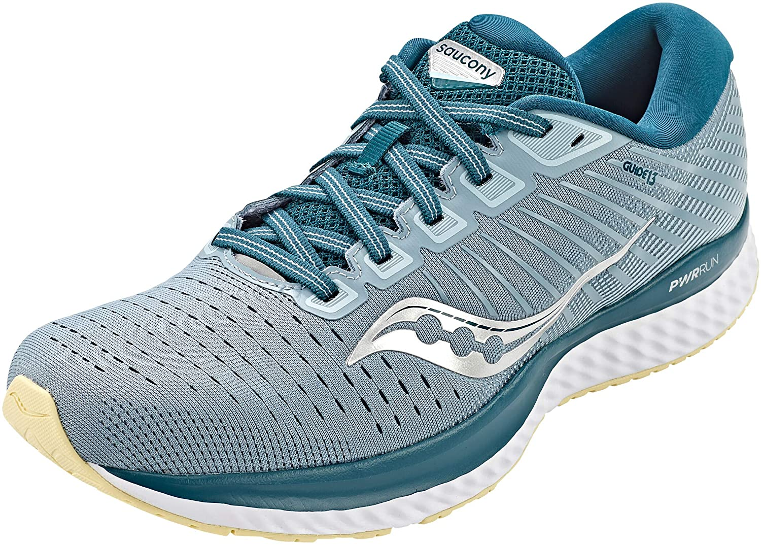 Saucony Men's Guide 13 Running Shoe in Mineral Deep Teal Side Angle View