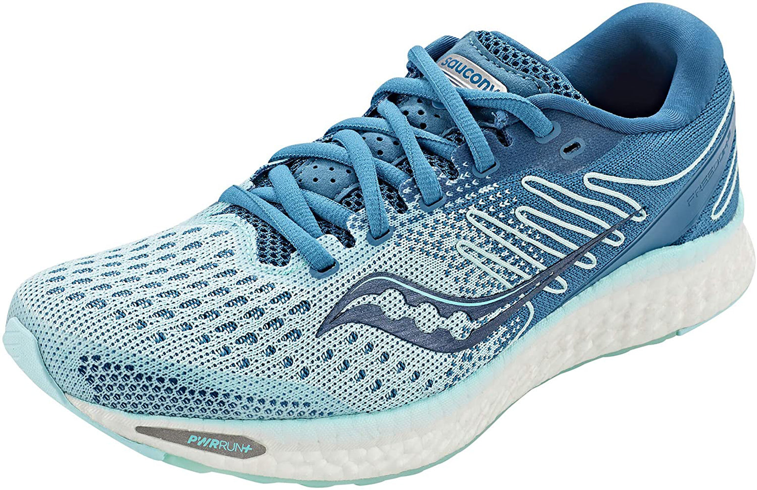 Saucony Women's Freedom 3 Running Shoe in Aqua Blue Side Angle View