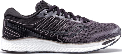 Saucony Women's Freedom 3 Running Shoe in Black White Side Angle View