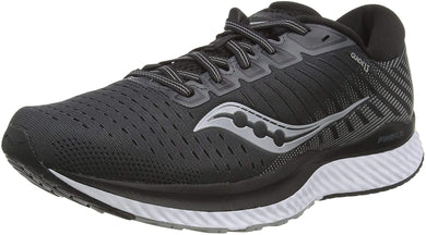 Saucony Women's Guide 13 Running Shoe in Black White Side Angle View