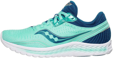 Saucony Women's Kinvara 11 Running Shoe in Aqua Blue Side Angle View