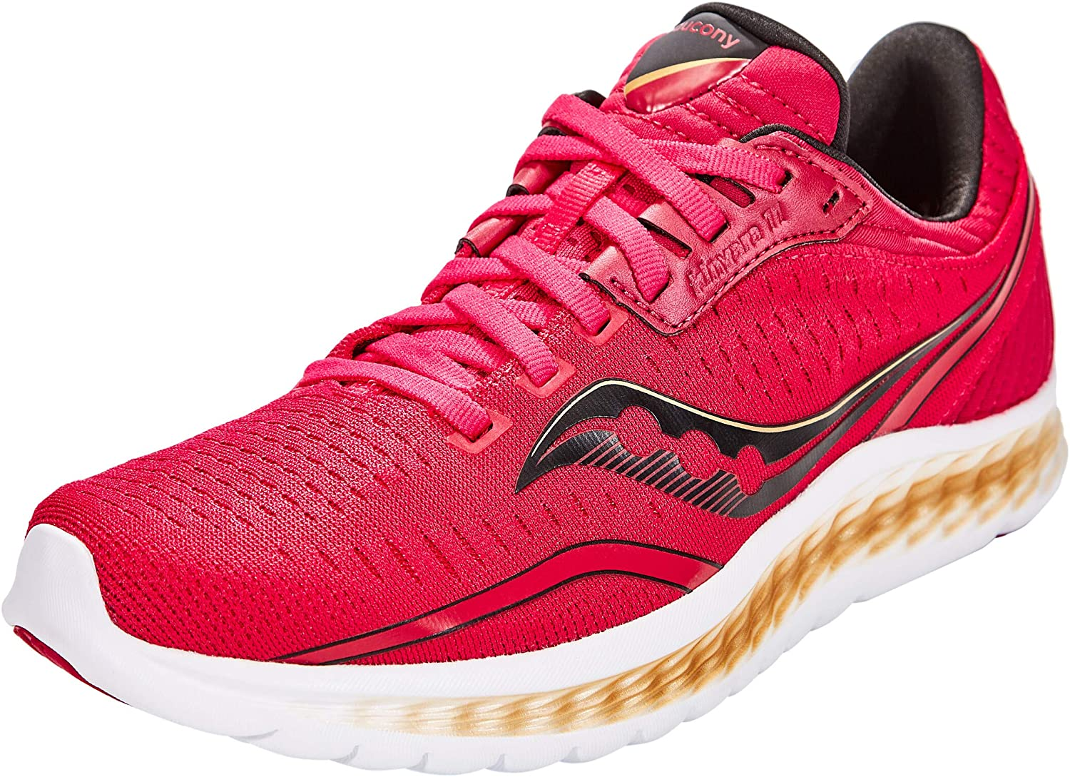Saucony Women's Kinvara 11 Running Shoe in Berry Gold Side Angle View