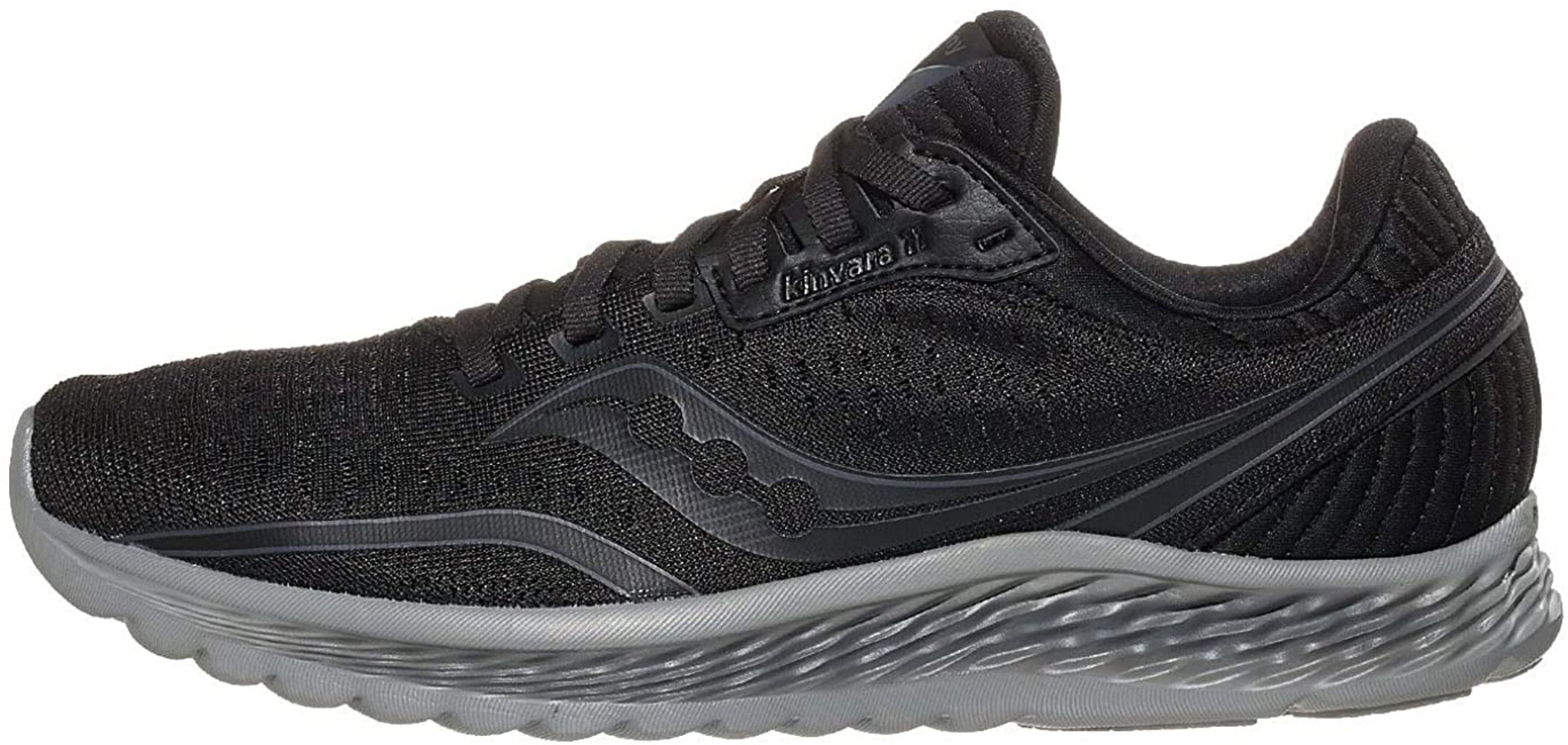 Saucony Women's Kinvara 11 Running Shoe in Blackout Side Angle View