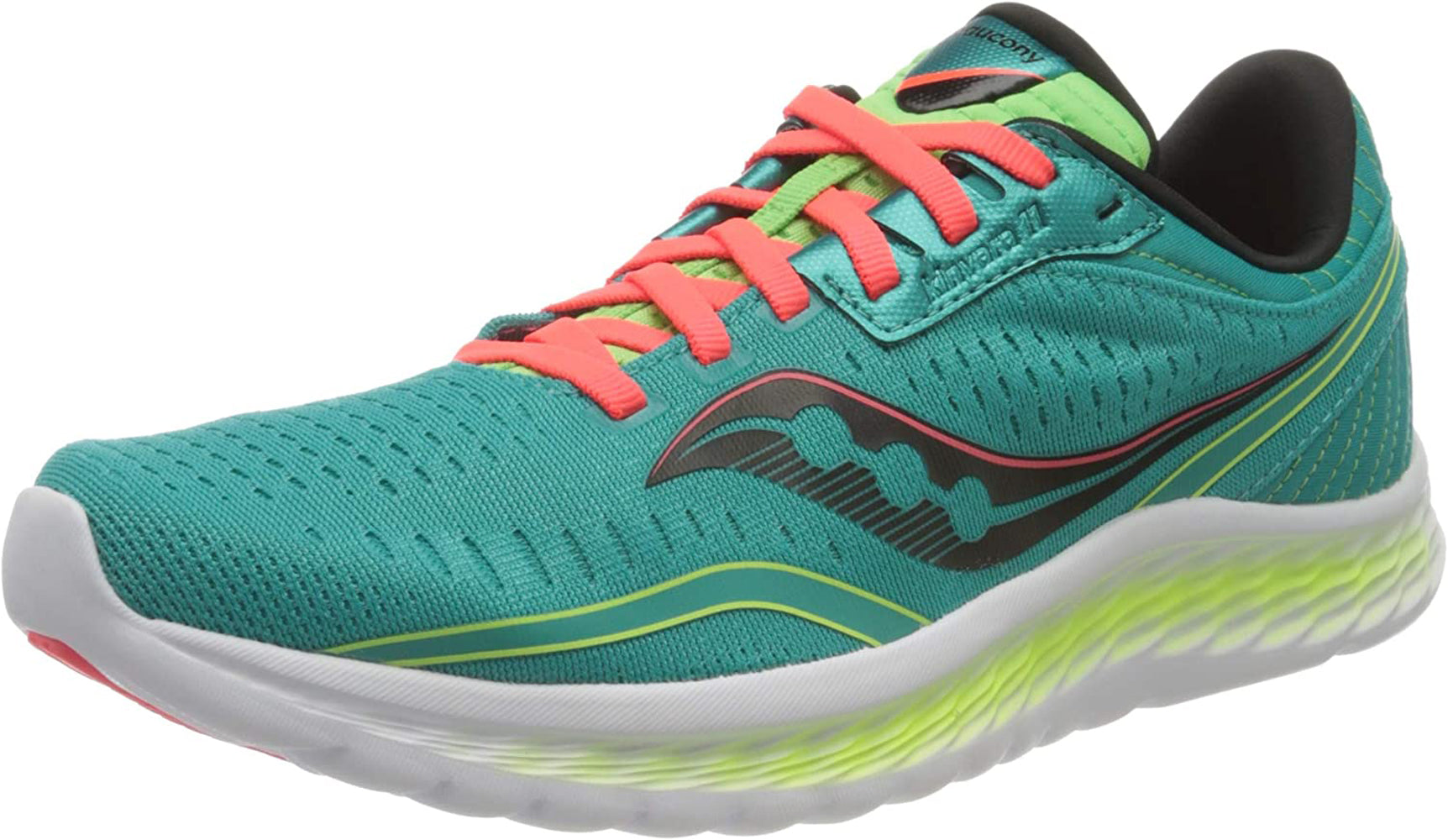 Saucony Women's Kinvara 11 Running Shoe in Blue Mutant Side Angle View
