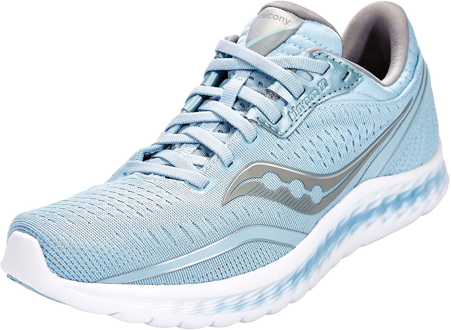 Saucony Women's Kinvara 11 Running Shoe in Sky Side Angle View