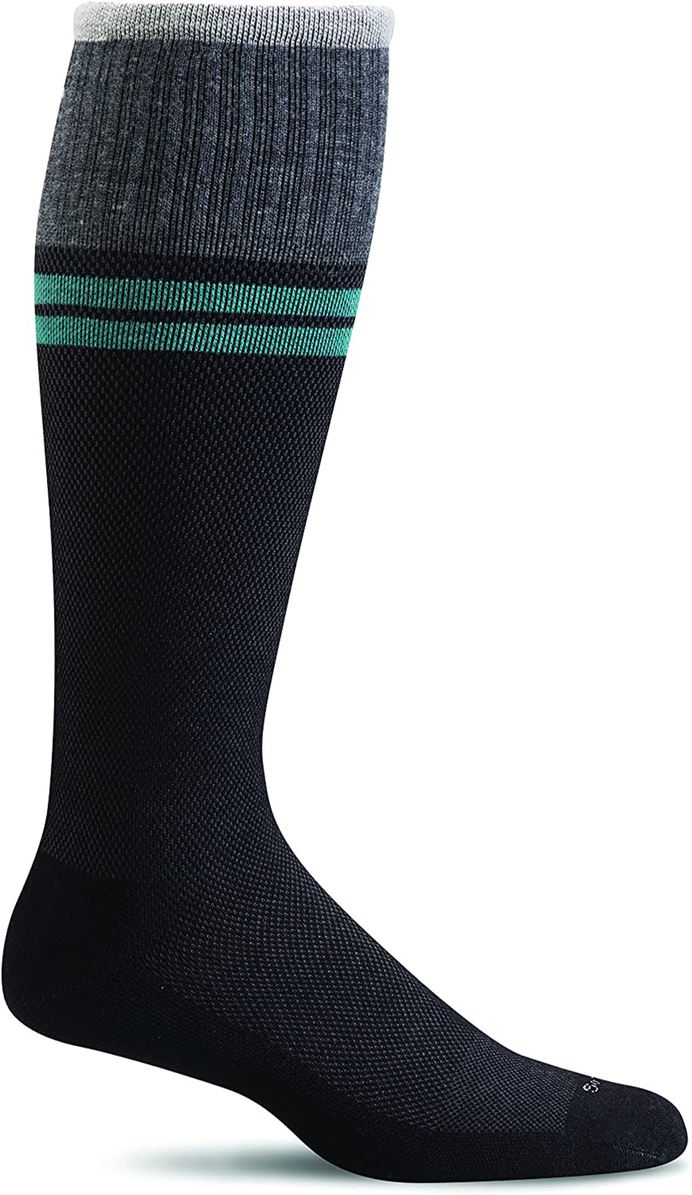 Sockwell Men's Sportster Compression Sock in Black 2 Side Angle View