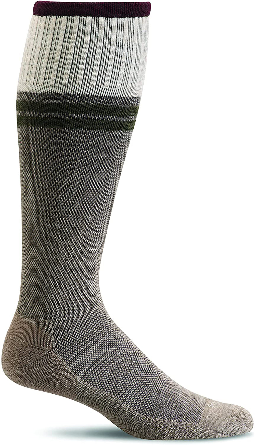 Sockwell Men's Sportster Compression Sock in Khaki Side Angle View