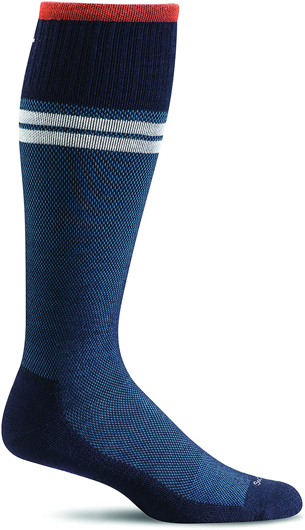 Sockwell Men's Sportster Compression Sock in Navy Side Angle View