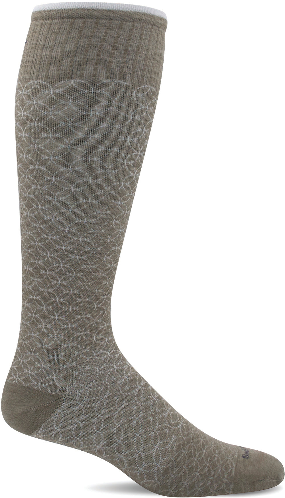 Sockwell Women's Featherweight Fancy Moderate Graduated Compression Sock in Khaki Side Angle View