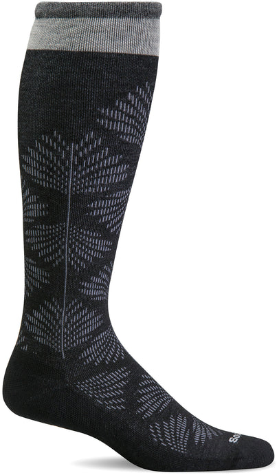 Sockwell Women's Full Floral Moderate Graduated Compression Sock in Black Side Angle View