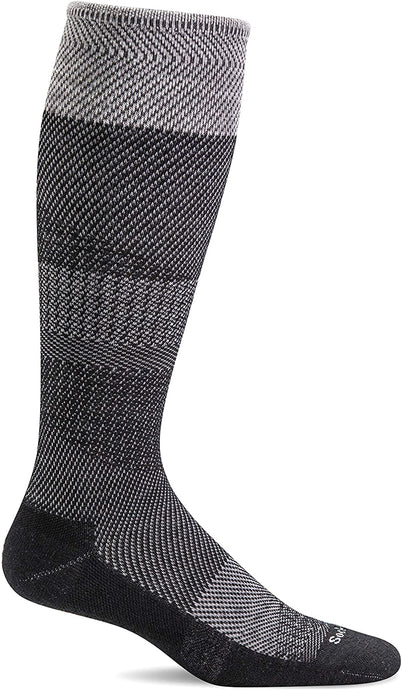 Sockwell Women's Modern Tweed Moderate Graduated Compression Sock in Black Side Angle View