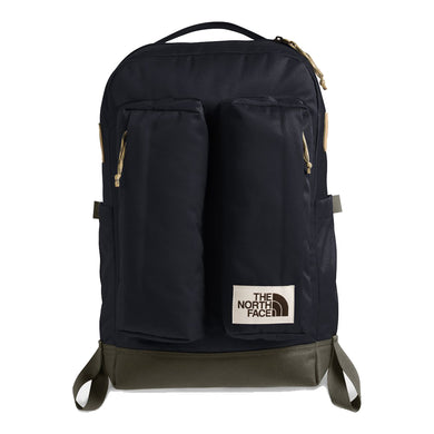 The North Face Crevasse Backpack in Aviator Navy Light Heather/New Taupe Green from the front