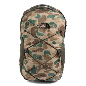The North Face Jester Backpack in Hawthorne Khaki Duck Camo Print/New Taupe Green from the front