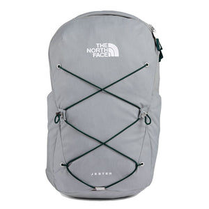 The North Face Jester Backpack in High Rise Grey Light Heather/Scarab Green from the front