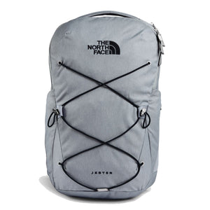 The North Face Jester Backpack in Mid Grey Dark Heather/TNF Black from the front