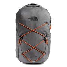 Load image into Gallery viewer, The North Face Jester Backpack in Zinc Grey Dark Heather/Persian Orange from the front