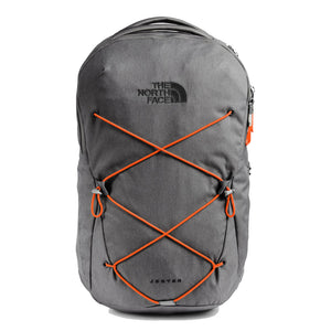 The North Face Jester Backpack in Zinc Grey Dark Heather/Persian Orange from the front