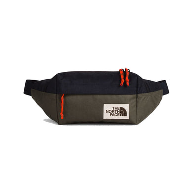 The North Face Lumbar Pack Waist Bag in Aviator Navy Light Heather/New Taupe Green from the front
