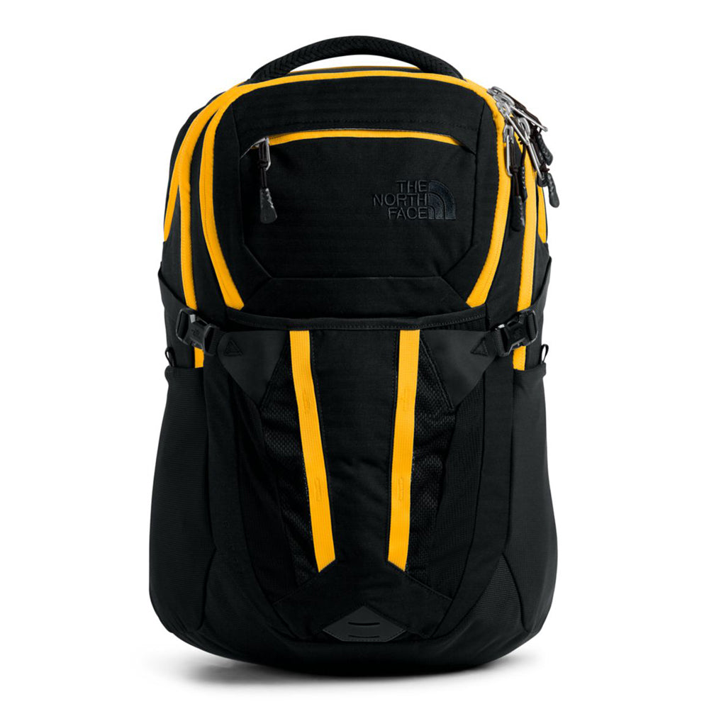 Unisex The North Face Recon Backpack in TNF Black Light Directional Heather/TNF Yellow from the front view