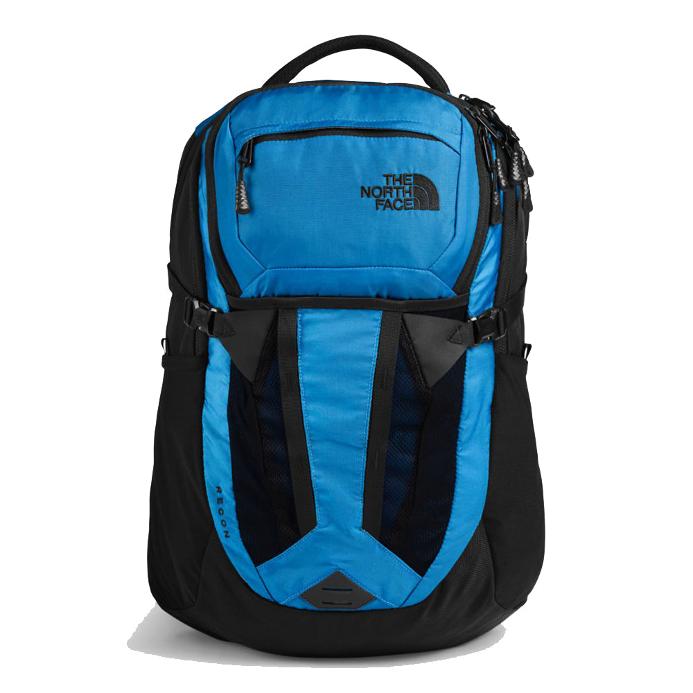 Unisex The North Face Recon Backpack in Clear Lake Blue/TNF Black from the front view