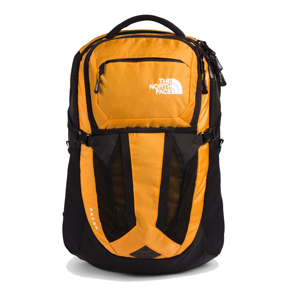 Unisex The North Face Recon Backpack in Summit Gold Ripstop/TNF Black from the front view